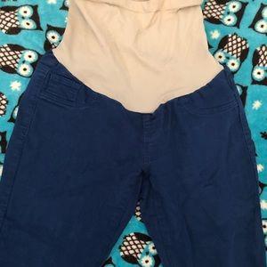 Blue skinny maternity jeans